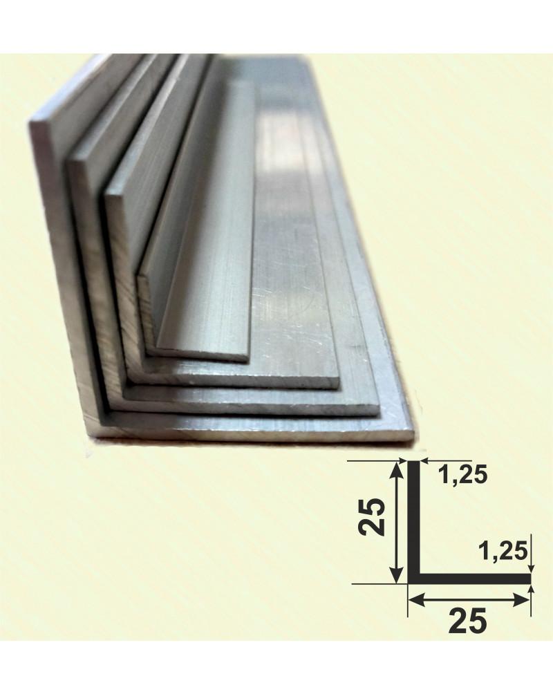 25*25*1.25. Алюмінієвий куточок рівносторонній, анод «срібло» 3,0 м.