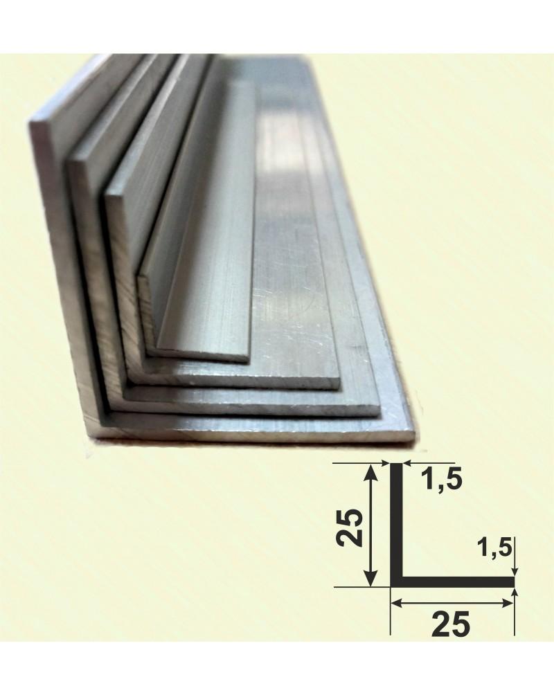 25*25*1.5. Алюмінієвий куточок рівносторонній, без покриття 3,0 м.