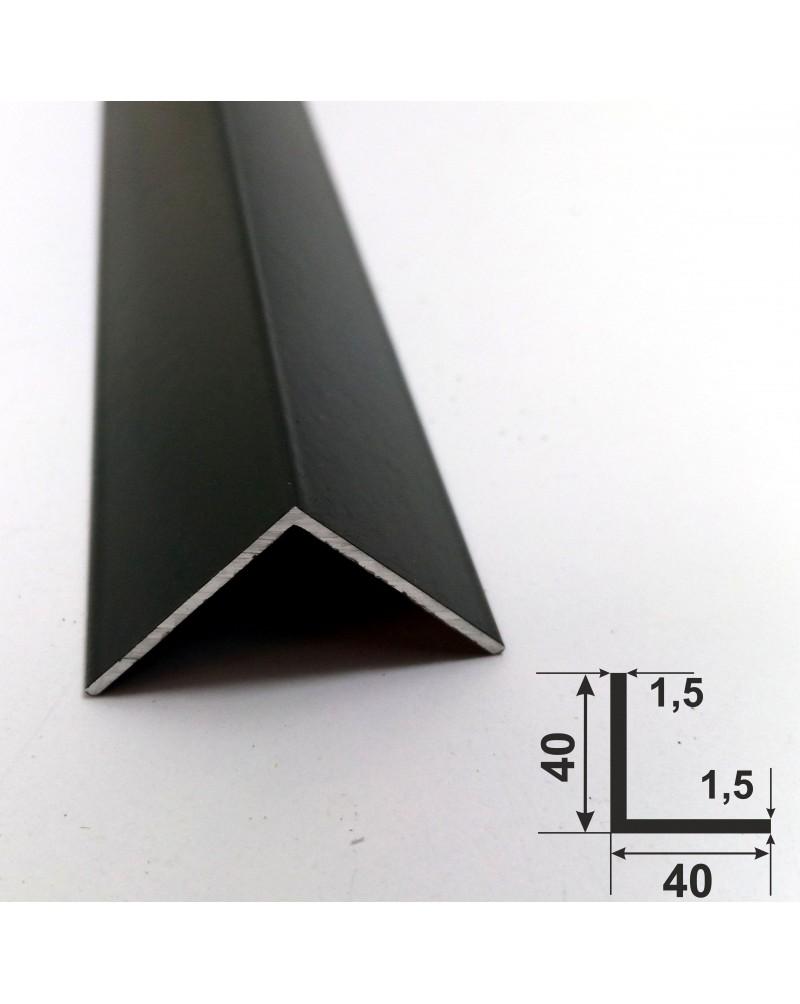 40*40*1,5. Алюминиевый уголок равносторонний, крашенный «Черный» 3,0 м.