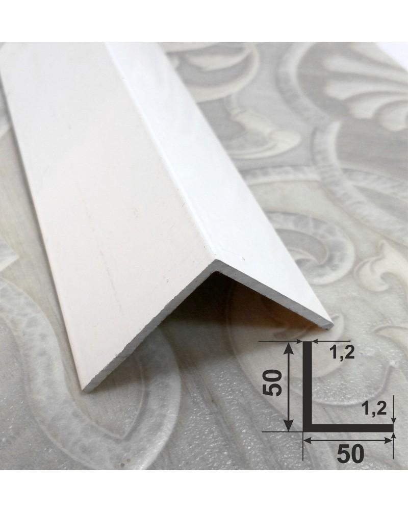 50*50*1.2. Алюмінієвий куточок рівносторонній, фарбований «Білий» 3,0 м.