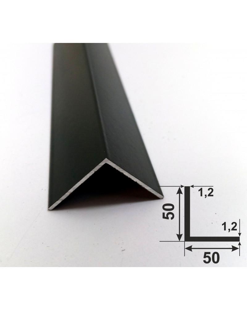 50*50*1.2. Алюминиевый уголок равносторонний, крашенный «Черный» 3,0 м.