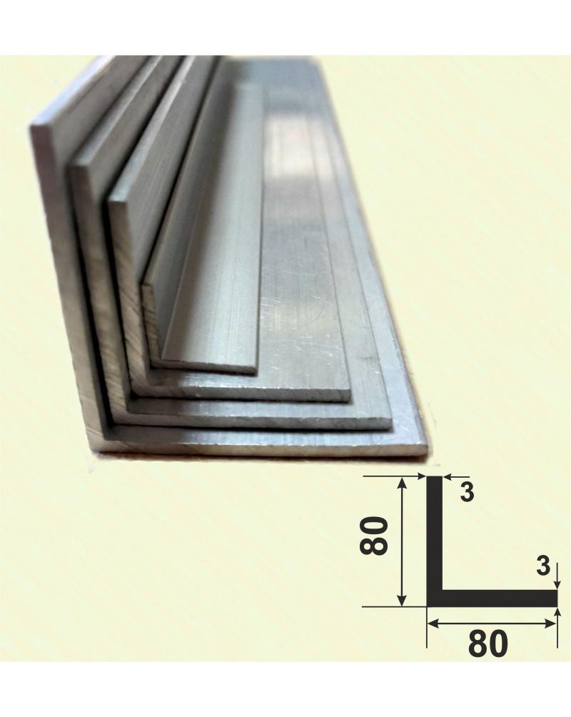 80*80*3. Алюминиевый уголок равносторонний, без покрытия