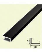 10*20*1. Алюмінієвий куточок різнобічний, фарбований «Чорний»