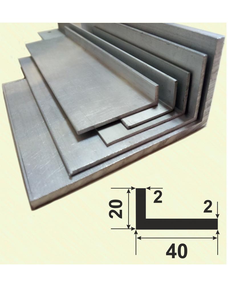 40*20*2. Алюмінієвий куточок різнобічний, анод «срібло» 3,0 м.