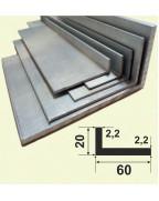 60*20*2.2. Алюмінієвий куточок рівносторонній, без покриття 3,0 м.
