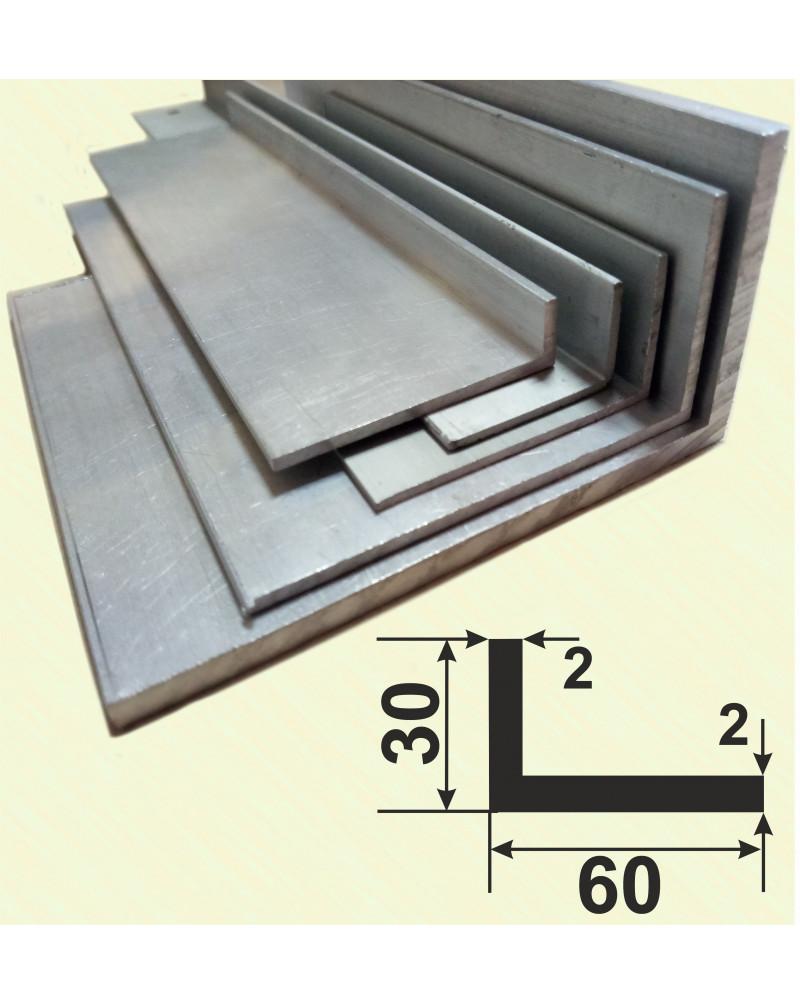 60*30*2. Алюмінієвий куточок різнобічний, без покриття 3,0 м.