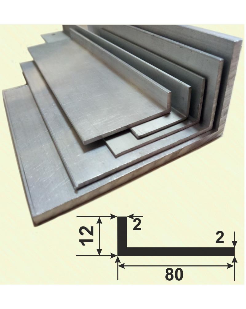 80*12*2. Алюминиевый уголок разносторонний, анод «Серебро» 3,0 м.