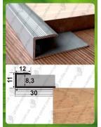 Стартовий (L-подібний) алюмінієвий профіль для плитки та ламінату. СУ 8 дуб 3.0м