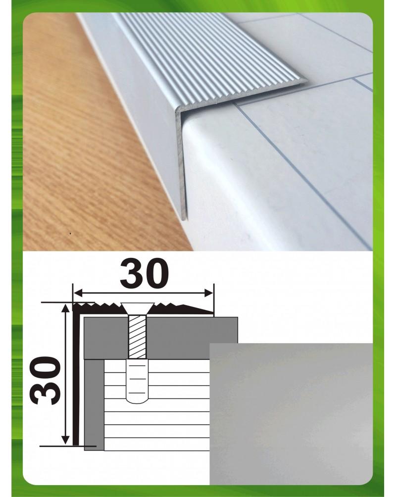 Алюминиевый порожек для ступеней А 30*30 серебро 0.9м, 30мм*30мм