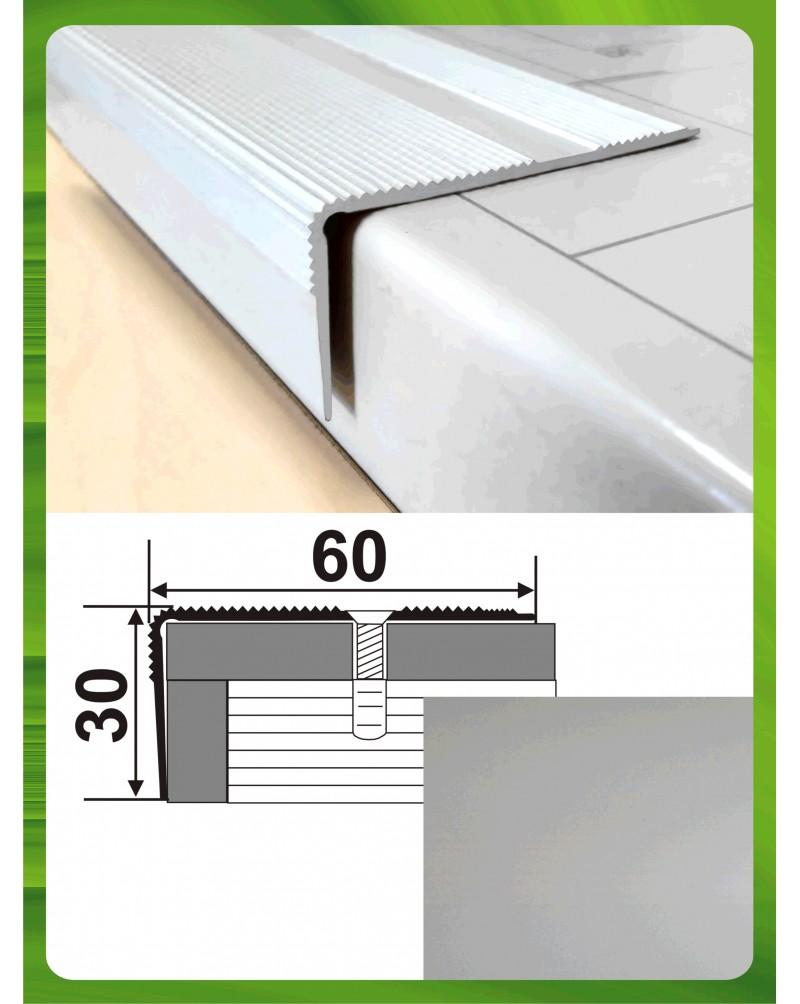 Алюминиевый порожек для ступеней А 60*30 серебро 1.8м, 60мм*30мм