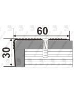 Алюминиевый порожек для ступеней А 60*30 бронза оливка 1.8м, 60мм*30мм