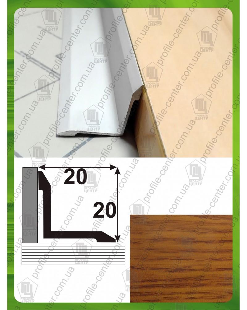 Алюминиевый порожек под дерево АВ 20*20 дуб золотой 1.8м, 20мм*20мм