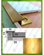 ЛПЗР. Латунный Z-образый наружный угол для плитки. Длина 2.5 м