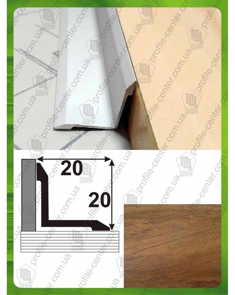 Алюминиевый порожек под дерево АВ 20*20 дуб шервуд 1.8м, 20мм*20мм