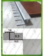Алюмінієвий гнучкий Т-профіль для плитки. АПЗГ 14 анод «срібло» 2.5м