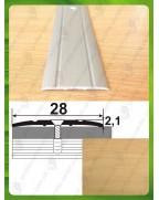 Алюминиевый порожек под дерево АП 005 дуб светлый 2.7м, ширина 28 мм
