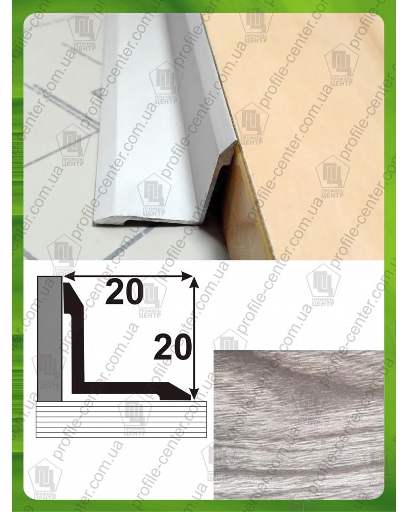 Алюминиевый порожек под дерево АВ 20*20 акация серая 2.7м, 20мм*20мм