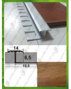 Алюмінієвий гнучкий Т-подібний профіль для плитки. Декор «під дерево». АПЗГ 14 дуб шервуд 2.5м