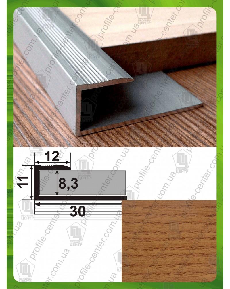 Стартовый L-образный алюминиевый профиль для ламината. СУ 8 дуб рустик 2.7м