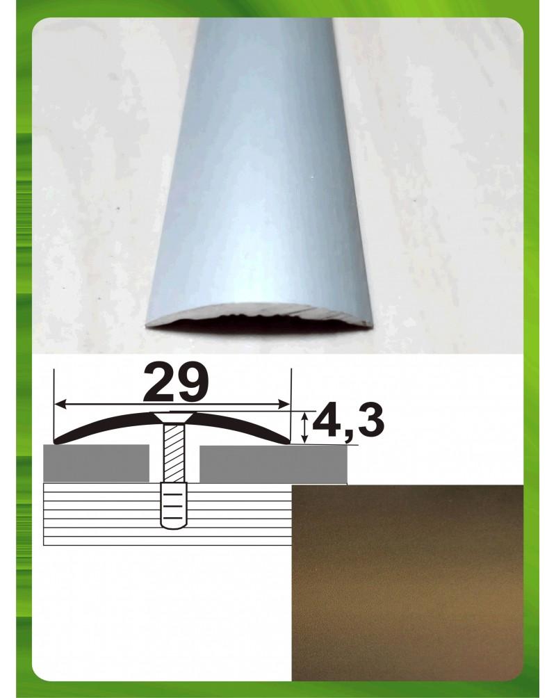 Алюминиевый порожек стыковочный АП 004 бронза 2.7м, ширина 29 мм