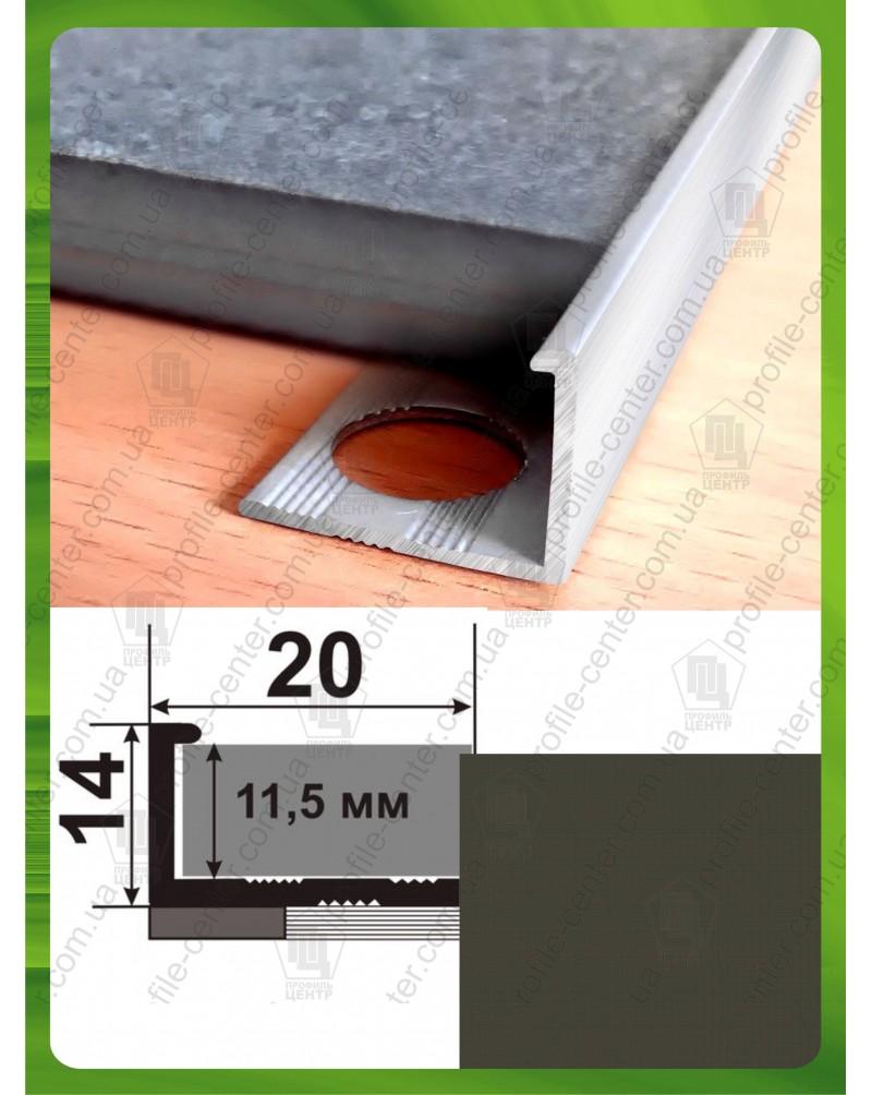Алюмінієвий Г-профіль для плитки до 12мм. АП 12 «Бронза оливка» 2.7м
