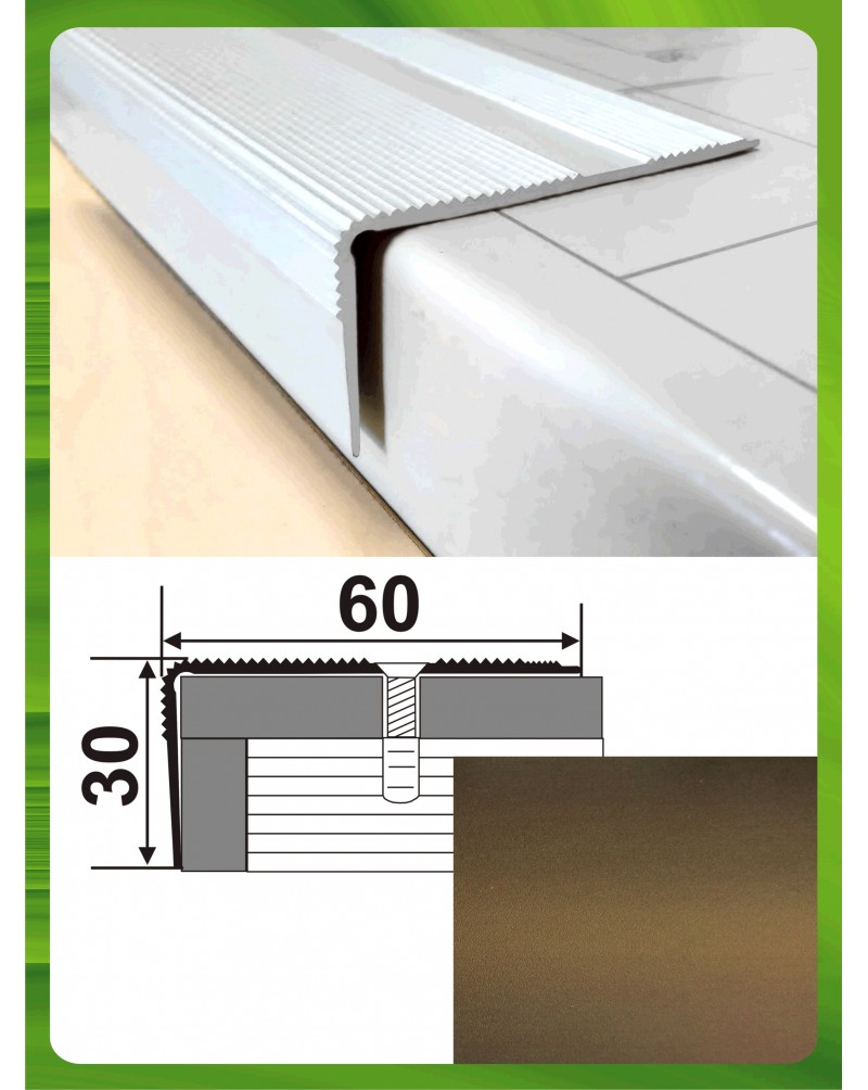 Алюминиевый порожек для ступеней А 60*30 бронза оливка 2.7м, 60мм*30мм