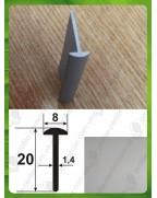 20*8*1,4. Алюминиевый тавр, анод «Серебро»