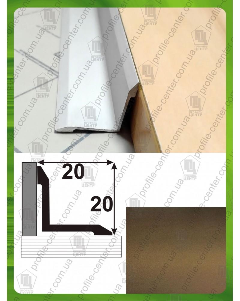 Алюминиевый порожек угловой внутренний АВ 20*20 бронза 2.7м, 20мм*20мм