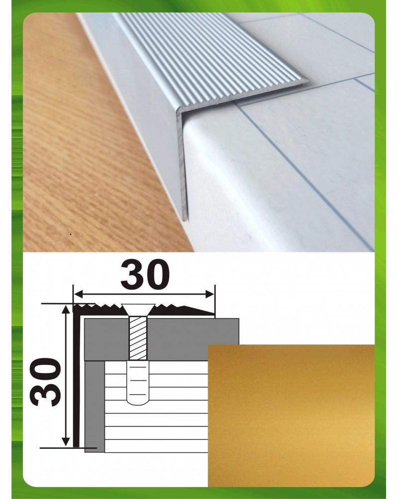 Алюминиевый порожек для ступеней А 30*30 золото 2.7м, 30мм*30мм