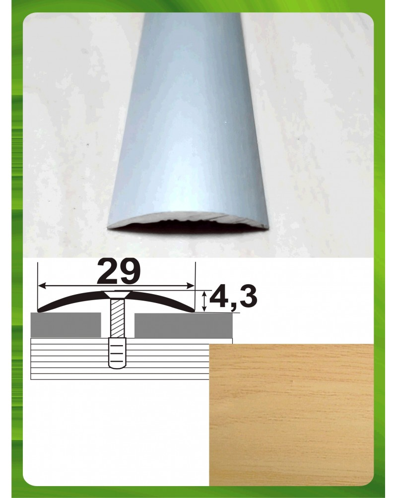 Алюминиевый порожек под дерево АП 004 дуб светлый 2.7м, ширина 29 мм