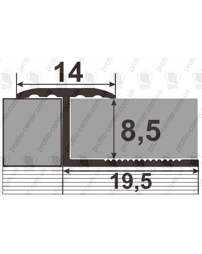 Алюминиевый гибкий Т-образный профиль для плитки. Декор «под дерево». АПЗГ 14 дуб 2.5м