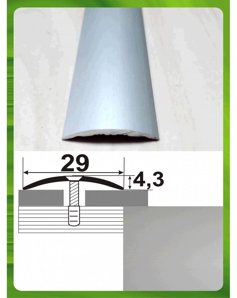 Алюмінієвий поріг стикувальний АП 004 срібло 1.8м, ширина 29 мм
