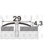 Алюминиевый порожек под дерево АП 004 слива 2.7м, ширина 29 мм