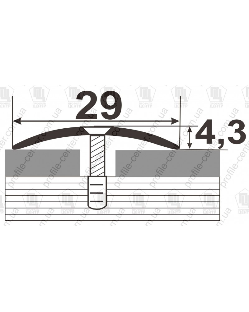 Алюминиевый порожек под дерево АП 004 венге 0.9м, ширина 29 мм