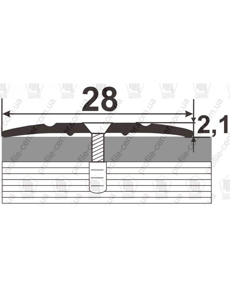 Алюминиевый порожек под дерево АП 005 махагон 2.7м, ширина 28 мм