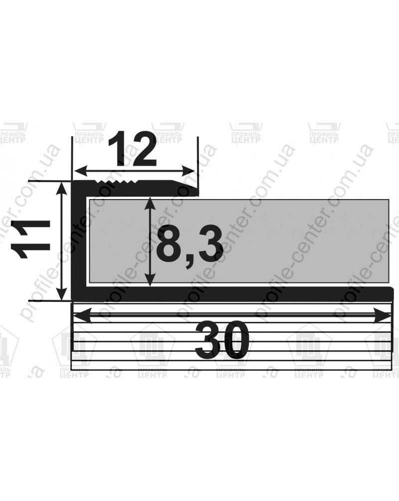 L-образный алюминиевый профиль. СУ 8 венге 3.0м